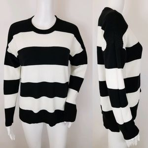 J. Crew Sweater Black White Striped Cable Knit